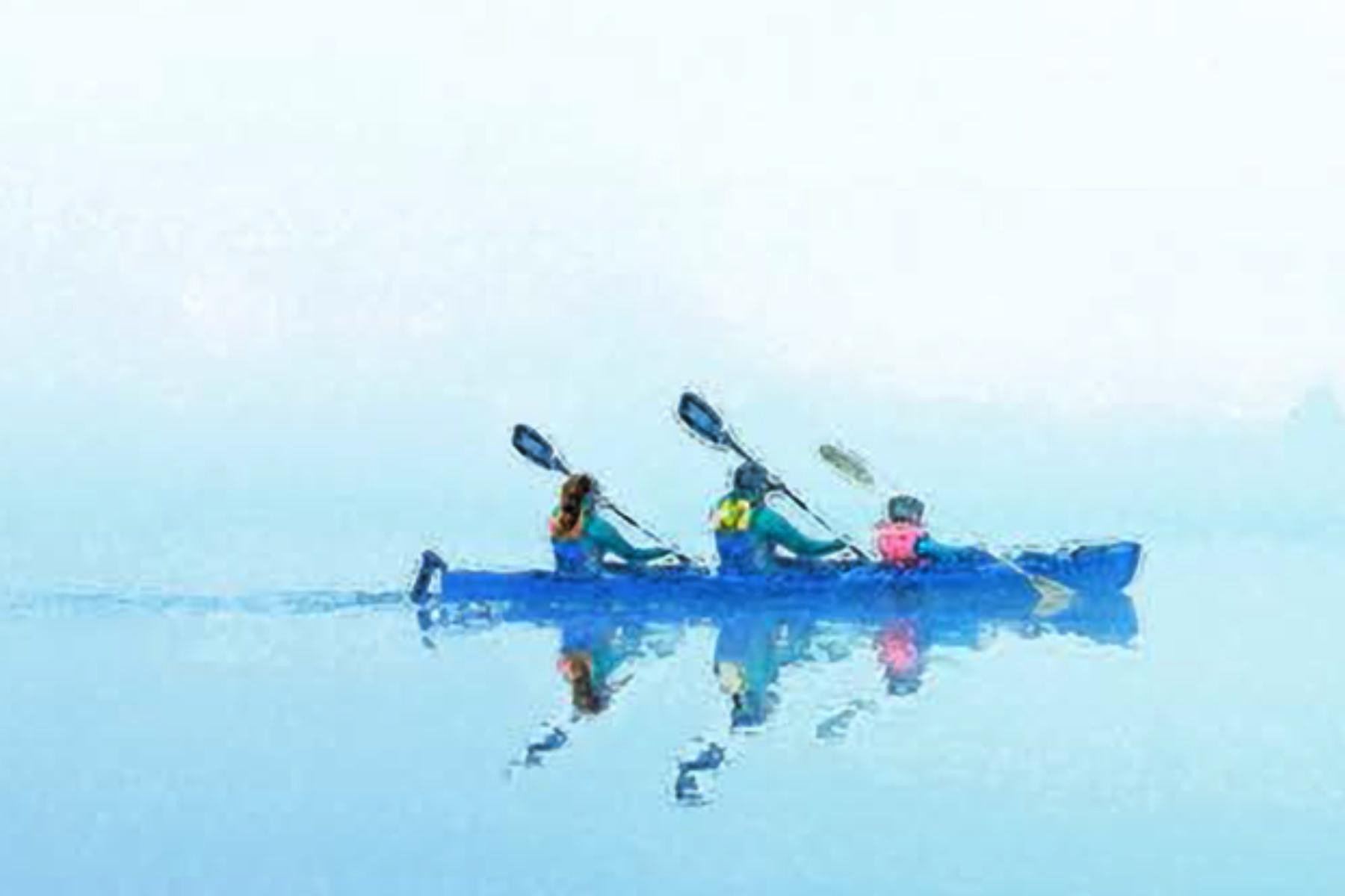Canoe on foggy lake